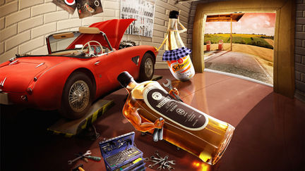 Case in garage (illustration for advert)