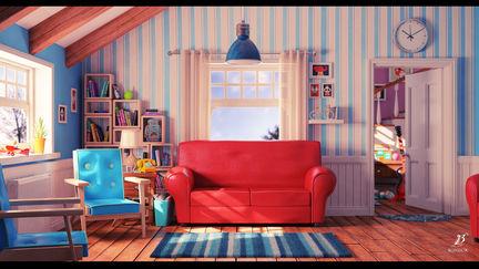 Cartoon living room