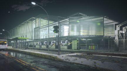 Sport station. Foggy night mood.