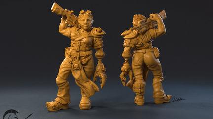 Furious post-apocalyptic ogress miniature