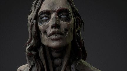 Clay skull girl (Speed sculpt stream)
