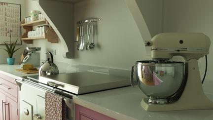 pink kitchen food mixer