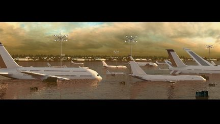 Airport in flood/river
