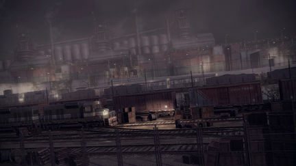 Old factory and trains ( night version, scanline render)