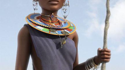 African Masai Woman, Mushroomgod (3D)