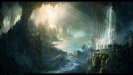 """Journey to the Center of The Earth"", Lagoon Reveal Concept Art."
