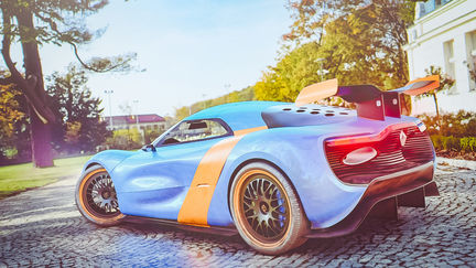 2012 renault alpine rendering / 2 hours starting with just geo to UV/TEXTURE/SHADER/RENDERING