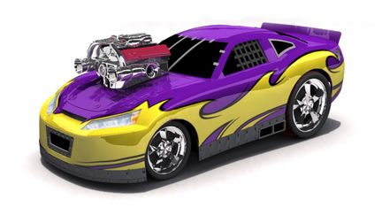 Tricked-Out race-car with huge engine ( toy car )
