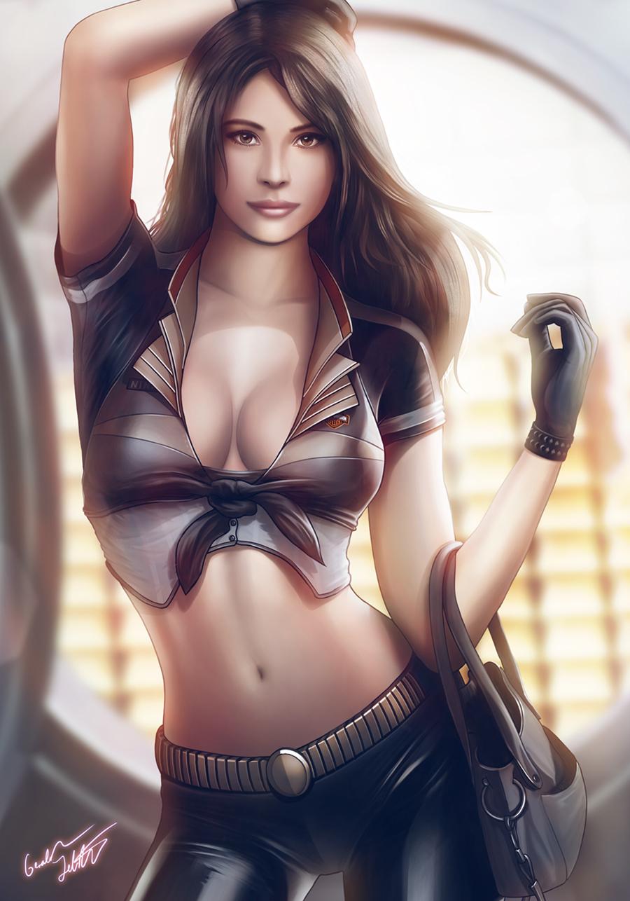 Sexy Female Assassin With Gun Digital Art