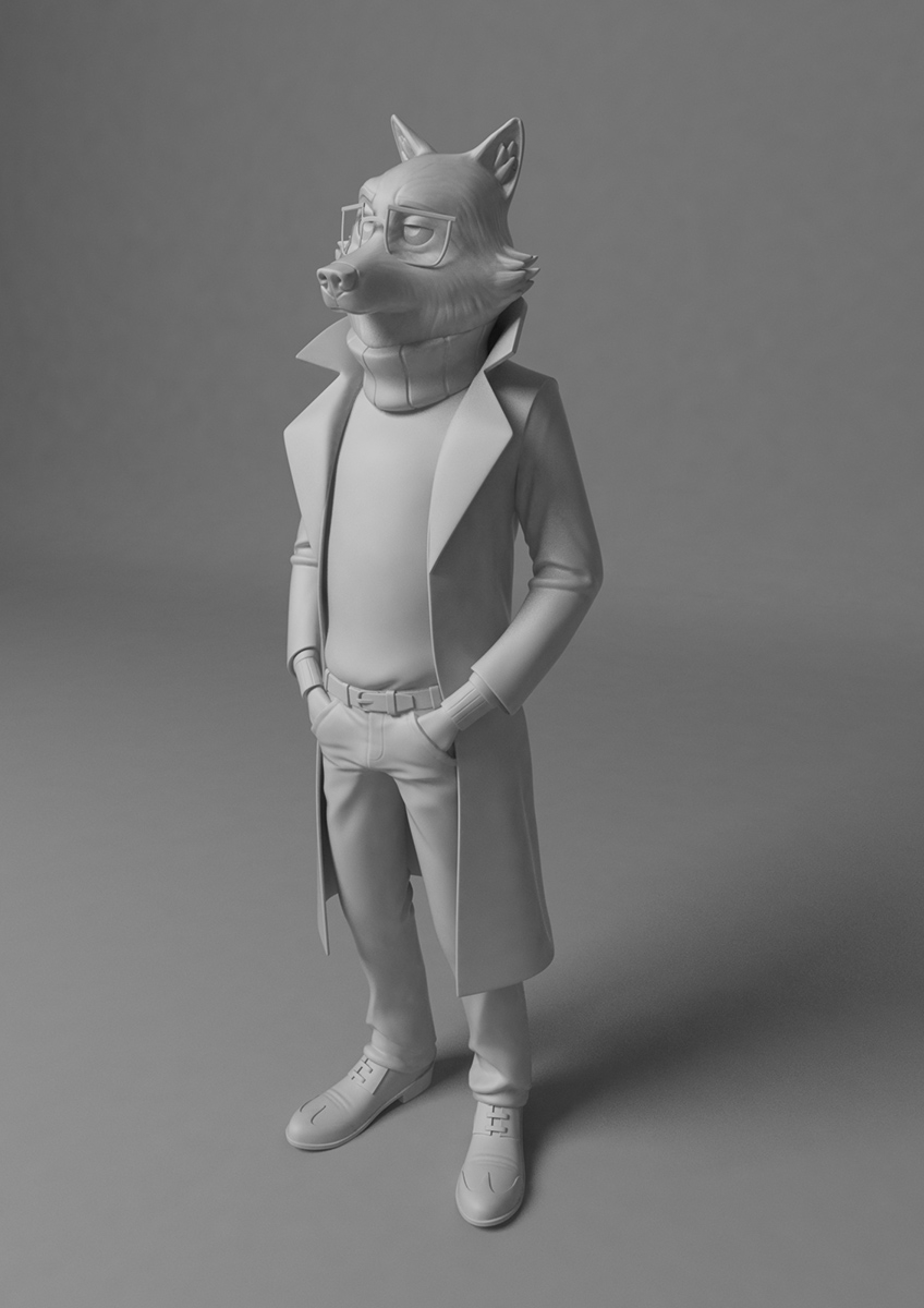 Wolf clay rendering