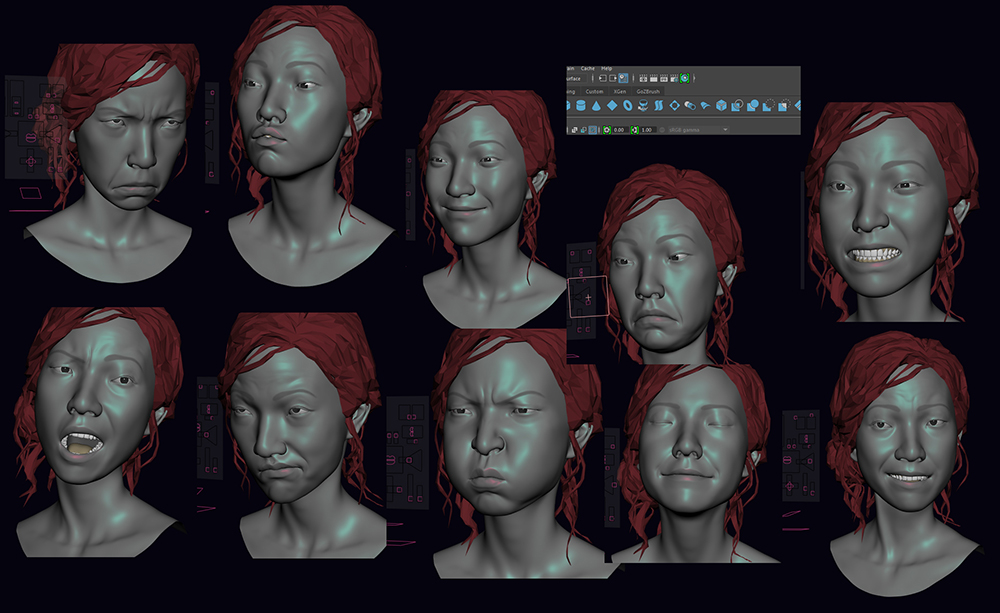 The super simple 3d face rig done by Min Shin by mjwithu09