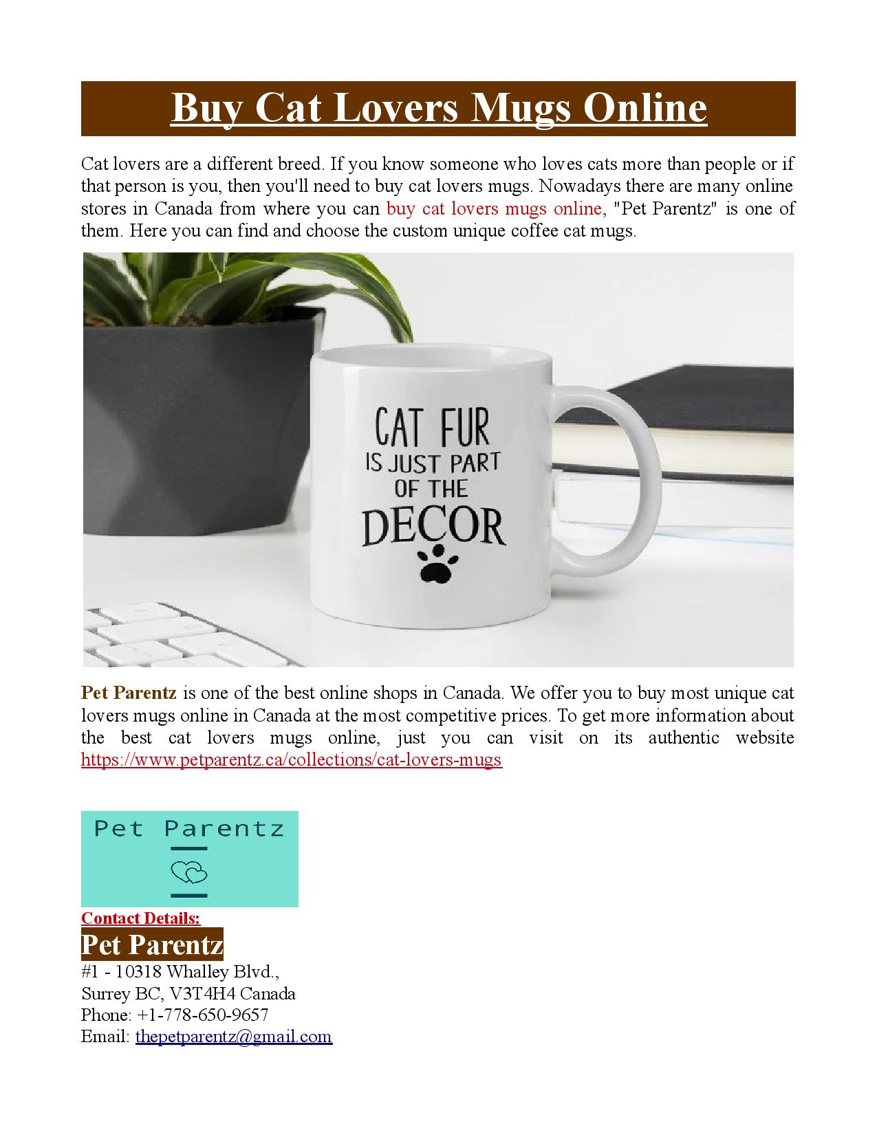 Buy Cat Lovers Mugs Online By Petparentz Cgsociety