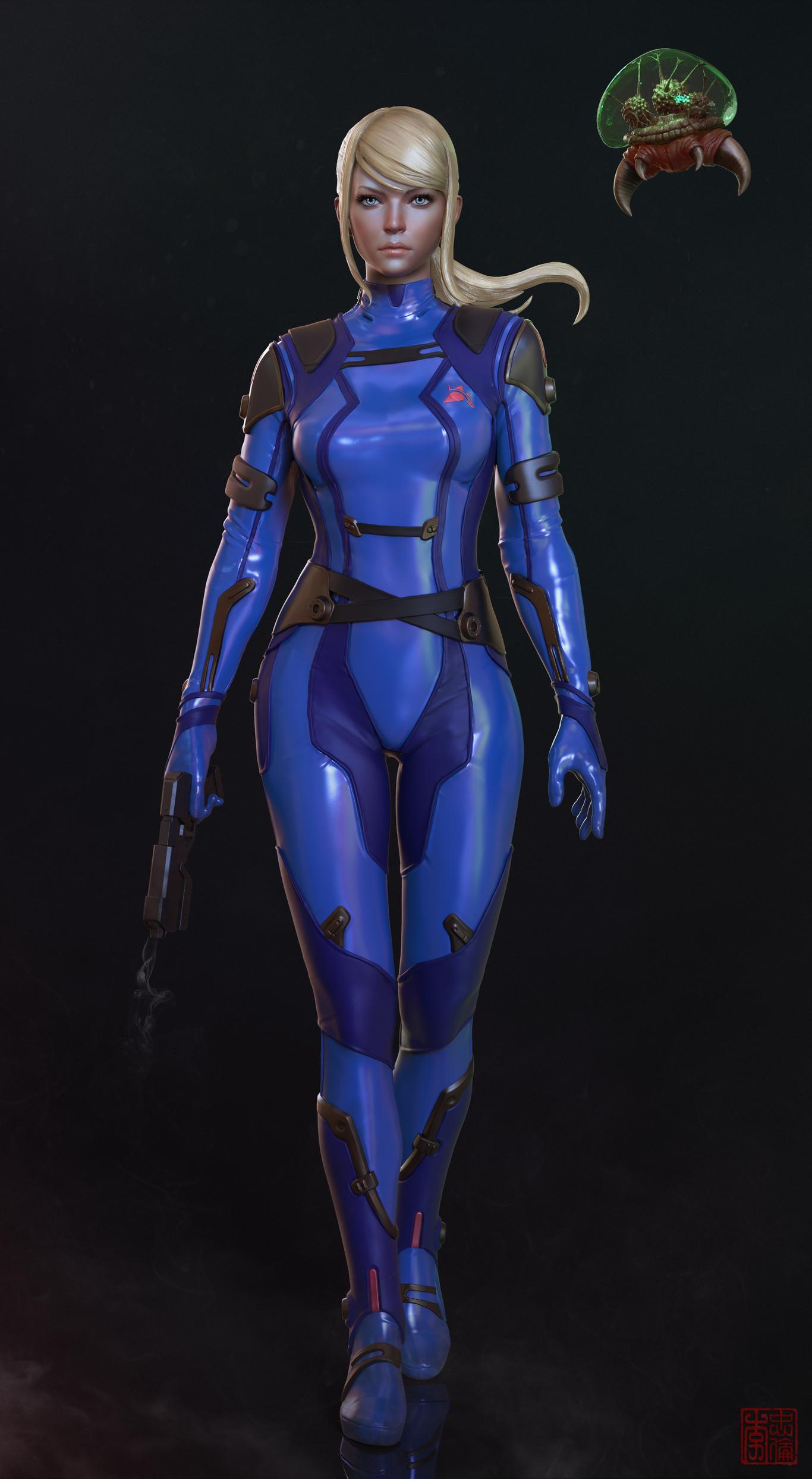 Samus Aran Zero Suit Metroid By Protomonkey Art 3d