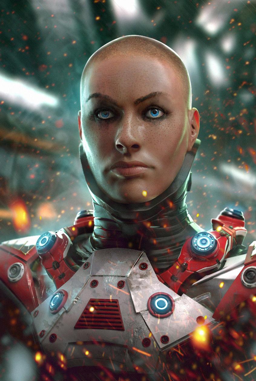 Download wallpaper 1920x1080 cyborg, robot, future, rain